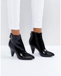New Look - Black Patent Cone Heel Pointed Ankle Boot - Lyst