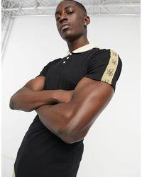 SIKSILK Premium Tape Polo Shirt - Black