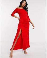 AX Paris - Slinky Bardot Maxi Dress - Lyst