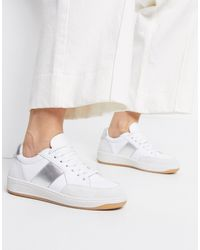 Whistles Kew Sneaker With Silver Side Stripe - Metallic