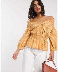 Y.A.S - Blusa a cuadros amarillos con escote Bardot y detalle - Lyst