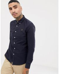 Farah - Brewer Slim Fit Oxford Shirt In Navy - Lyst