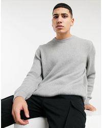 Pull&Bear Ribbed Sweater With Crew Neck - Gray
