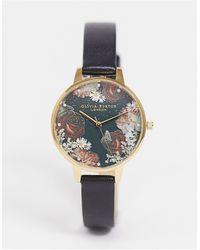 Olivia Burton Часы С Черным Кожаным Ремешком И Циферблатом С Изображением Цветов Ob16wg74 Winter-черный