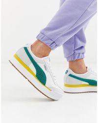 PUMA Roma Heritage Platform White And Teal Sneakers-multi - Multicolour