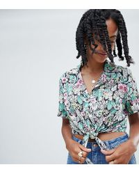 Reclaimed (vintage) - Inspired Tie Front Cropped Shirt - Lyst
