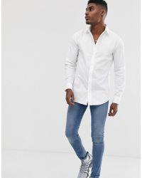 SIKSILK - Camisa ajustada de manga larga en blanco - Lyst