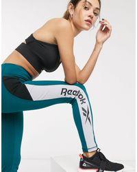 Reebok Training - Groenblauwe legging Met Contrasterend Kleurvlak Langs