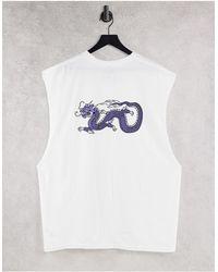 Honour Hnr ldn plus - t-shirt sans manches avec imprimé dragon au dos - Blanc