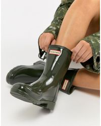 HUNTER - Short Gloss Wellington Boot - Lyst