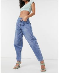 Vero Moda High Waisted baggy Jeans With Tapered Leg - Blue
