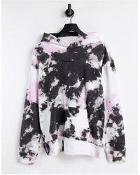 Hollister Felpa con cappuccio lavaggio acido bianco nero e rosa con logo sul davanti