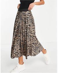 Vila Elasticated Waist Pleated Skirt - Black