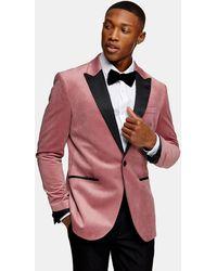 TOPMAN Облегающий Розовый Бархатный Пиджак Однобортного Кроя С Острыми Лацканами -розовый Цвет