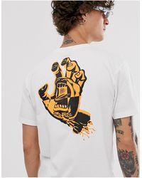 Santa Cruz Crash hand - T-shirt a imprimé sur le devant et dans le dos - Blanc