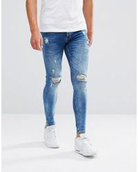Kings Will Dream Super Skinny Jeans In Midwash Blue With Distressing