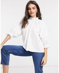 ASOS Cotton Top With Shirred Neck And Cuff Detail - White