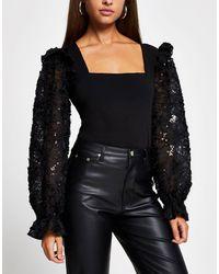 River Island Mesh Sequin Embellished Sleeved Blouse - Black