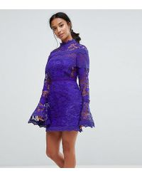 ASOS - Lace Long Sleeve Mini Dress With Fluted Sleeves - Lyst
