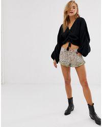 One Teaspoon Bandits Leopard Print Denim Shorts - Brown
