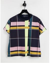 Fred Perry T-shirt With Plaid Print Front - Blue