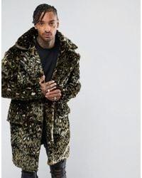 The New County Jacket In Leopard Teddy Faux Fur - Green