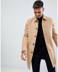ASOS Wool Mix Trench Coat In Camel - Natural
