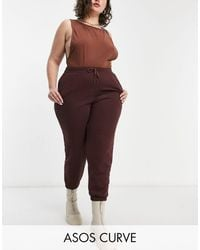 ASOS - Joggers extragrandes color chocolate - Lyst