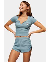 TOPSHOP – Besticktes Pyjama-Set mit Lama-Motiv - Blau