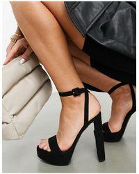 ASOS Natasha Platform Barely There Heeled Sandals - Black