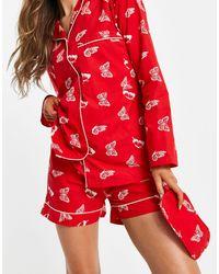 Daisy Street Pigiama con camicia a maniche lunghe, pantaloncini e mascherina da notte con stampa con farfalle - Rosso