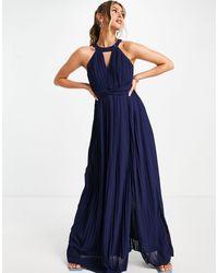 TFNC London Темно-синее Плиссированное Платье Макси С Вырезом-каплей -темно-синий