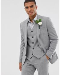 03c7384e7d9b ASOS - Wedding Skinny Suit Jacket In Grey Twist Micro Texture - Lyst