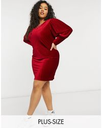 Simply Be Velour Shift Dress With Balloon Sleeve Detail - Red