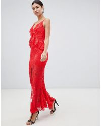 Love Triangle Ruffle Lace Maxi Dress With Cross Back In Red
