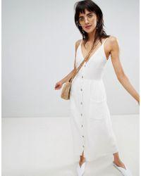 Stradivarius - Button Front Linen Cami Dress - Lyst