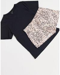 New Look – Kurzer Pyjama mit Tiermuster - Braun