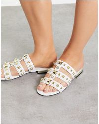 River Island Studded Caged Flat Sandals - White