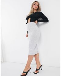 Missguided Co-ord Recycled Seam Front Skirt - Grey