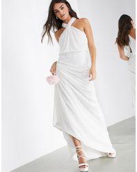 ASOS - Свадебное Платье С Халтером И Пайетками -белый - Lyst