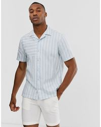 Jack & Jones – Premium – Kurzärmliges, gestreiftes Hemd - Blau