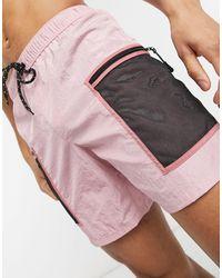 ASOS Swim Shorts With Cargo Pockets - Pink