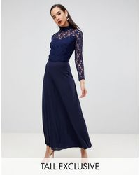 John Zack Over Lace Top Maxi Dress With Open Back - Blue