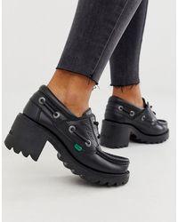 Kickers – Klio – Schnürschuhe aus schwarzem Leder mit niedrigem Absatz