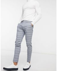 ASOS Super Skinny Suit Trousers With Prince Of Wales Check - Blue
