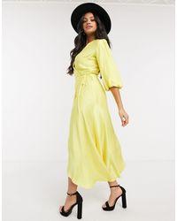 Liquorish Midi Wrap Dress With Balloon Sleeves - Yellow