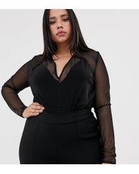 Boohoo Basic Mesh 2 In 1 Body In Black