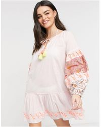 River Island Vestido playero corto rosa estampado
