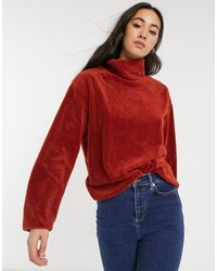 Native Youth Sweat-shirt doux à col cheminée - Rouille - Orange