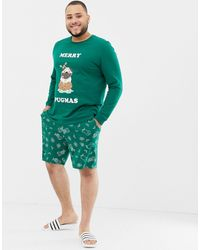 ASOS Plus Christmas Short Pyjama Set With Festive Pug Design - Green